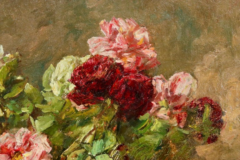 Roses - 19th Century Oil, Still Life of Flowers in Interior by Georges Jeannin For Sale 3