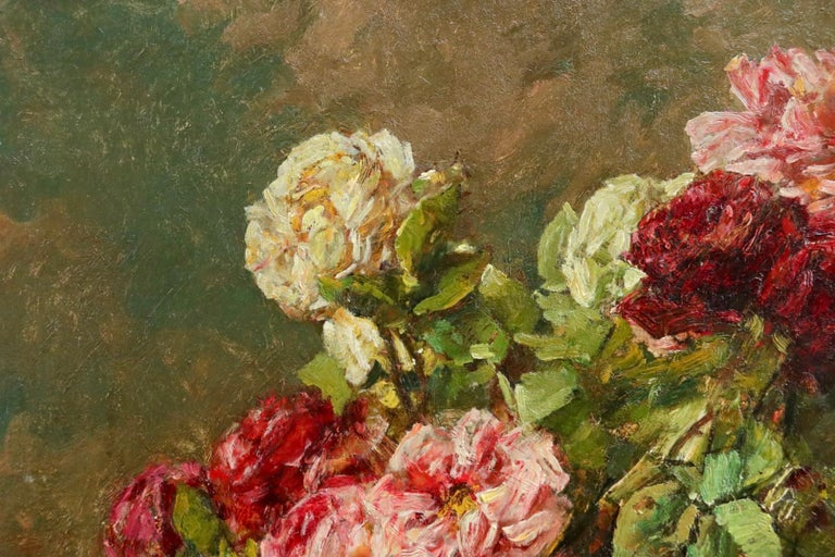 Roses - 19th Century Oil, Still Life of Flowers in Interior by Georges Jeannin For Sale 4