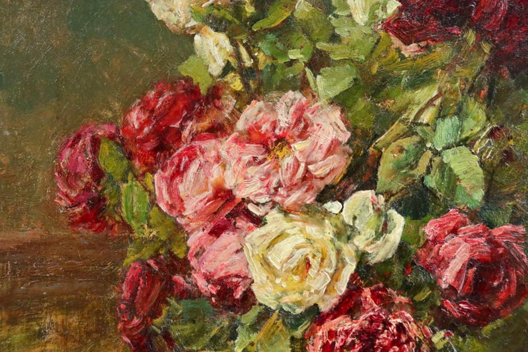 Roses - 19th Century Oil, Still Life of Flowers in Interior by Georges Jeannin For Sale 5