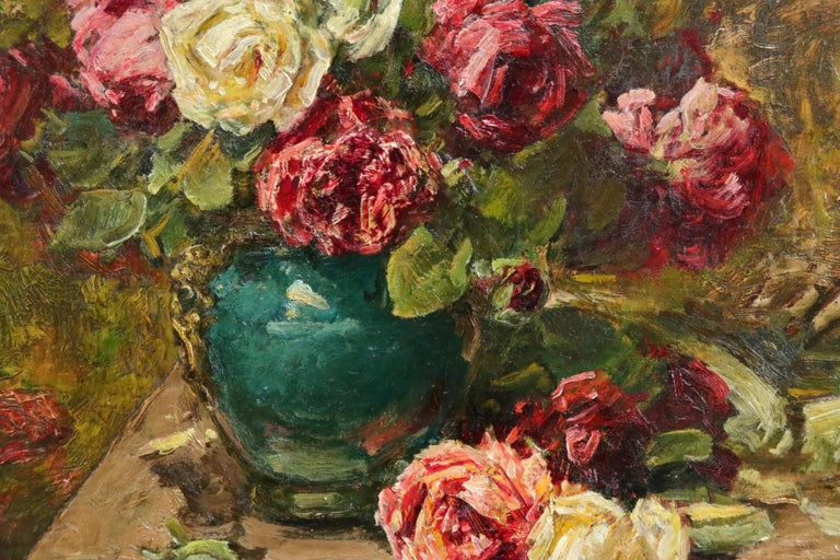 Roses - 19th Century Oil, Still Life of Flowers in Interior by Georges Jeannin For Sale 6
