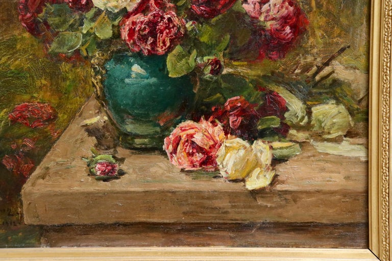 Roses - 19th Century Oil, Still Life of Flowers in Interior by Georges Jeannin For Sale 7