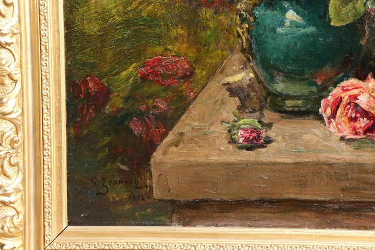 Roses - 19th Century Oil, Still Life of Flowers in Interior by Georges Jeannin For Sale 8