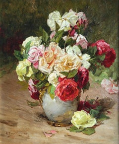 Roses - 19th Century Oil, Still Life of Flowers in Interior by Georges Jeannin