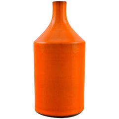 Georges Jouve France, Vase in Glazed Ceramic, Beautiful Orange Glaze