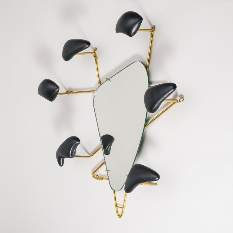 Georges Jouvé Wall-Mounted Coat Rack with Mirror, 1950s For Sale 2