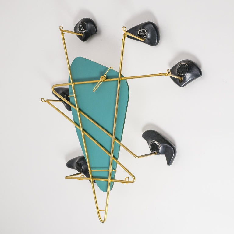 Georges Jouvé Wall-Mounted Coat Rack with Mirror, 1950s For Sale 3