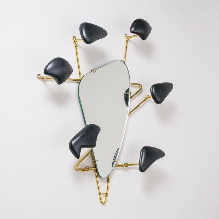 Mid-Century Modern Georges Jouvé Wall-Mounted Coat Rack with Mirror, 1950s For Sale