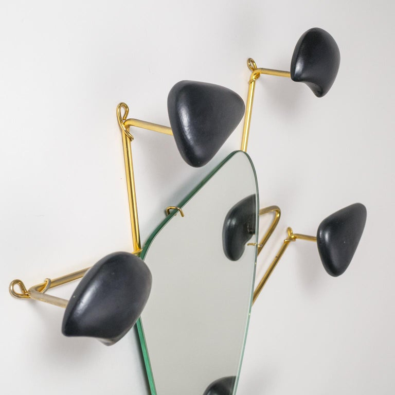 Glazed Georges Jouvé Wall-Mounted Coat Rack with Mirror, 1950s For Sale
