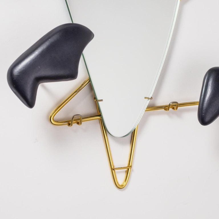 Georges Jouvé Wall-Mounted Coat Rack with Mirror, 1950s In Good Condition For Sale In Vienna, AT