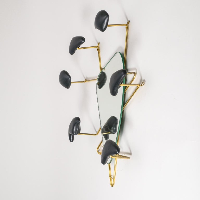 Georges Jouvé Wall-Mounted Coat Rack with Mirror, 1950s For Sale 1