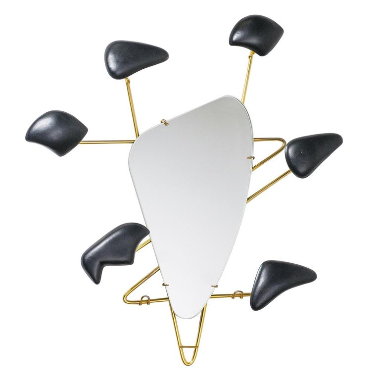 Georges Jouvé Wall-Mounted Coat Rack with Mirror, 1950s For Sale