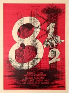 Original Vintage Federico Fellini Movie Poster 8½ Starring Marcello Mastroianni