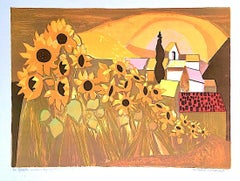 Champ de Tournesols Signed Lithograph, Field of Sunflowers French Village Sunset