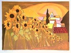 Champ de Tournesols, Signed Lithograph, Sunflower Field, French Landscape