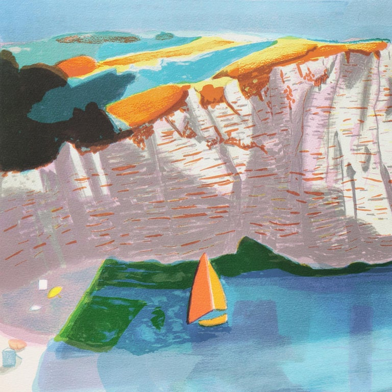 Falaise de l'Étretat  (France, Post-Impressionism, Modernism, Coast, blue) For Sale 1