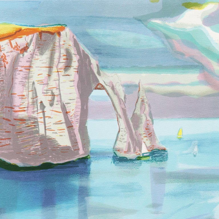 Falaise de l'Étretat  (France, Post-Impressionism, Modernism, Coast, blue) For Sale 2