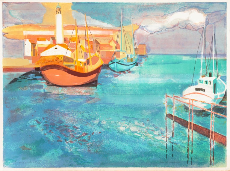 Grau du Roi, Camargue   (France, Harbor, Atlantic, Post-Impressionism, blue) For Sale 1