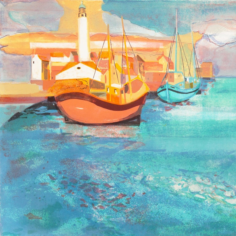Grau du Roi, Camargue   (France, Harbor, Atlantic, Post-Impressionism, blue) For Sale 5