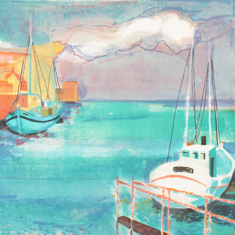 Grau du Roi, Camargue   (France, Harbor, Atlantic, Post-Impressionism, blue) For Sale 6