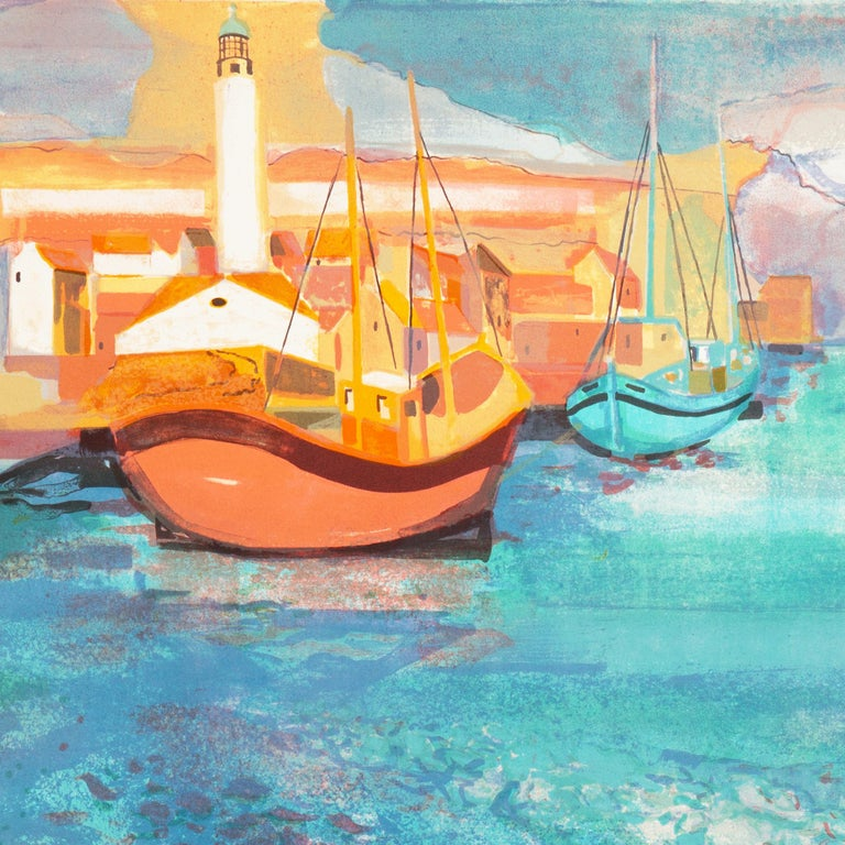 Grau du Roi, Camargue   (France, Harbor, Atlantic, Post-Impressionism, blue) For Sale 7