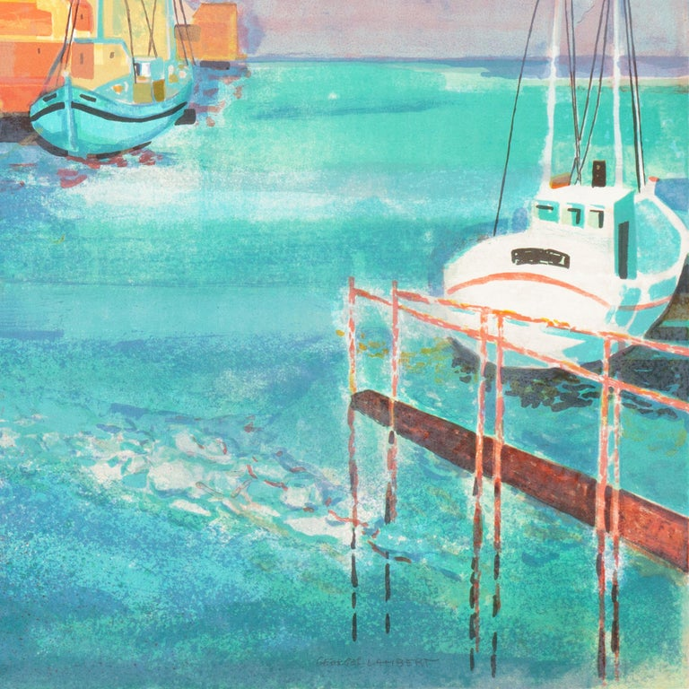 Grau du Roi, Camargue   (France, Harbor, Atlantic, Post-Impressionism, blue) For Sale 8