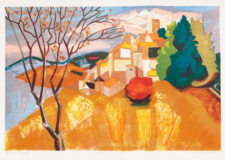 Provençal Landscape  (France, Post-Impressionism, Modernism, Rural, red, yellow) - Print by Georges Lambert