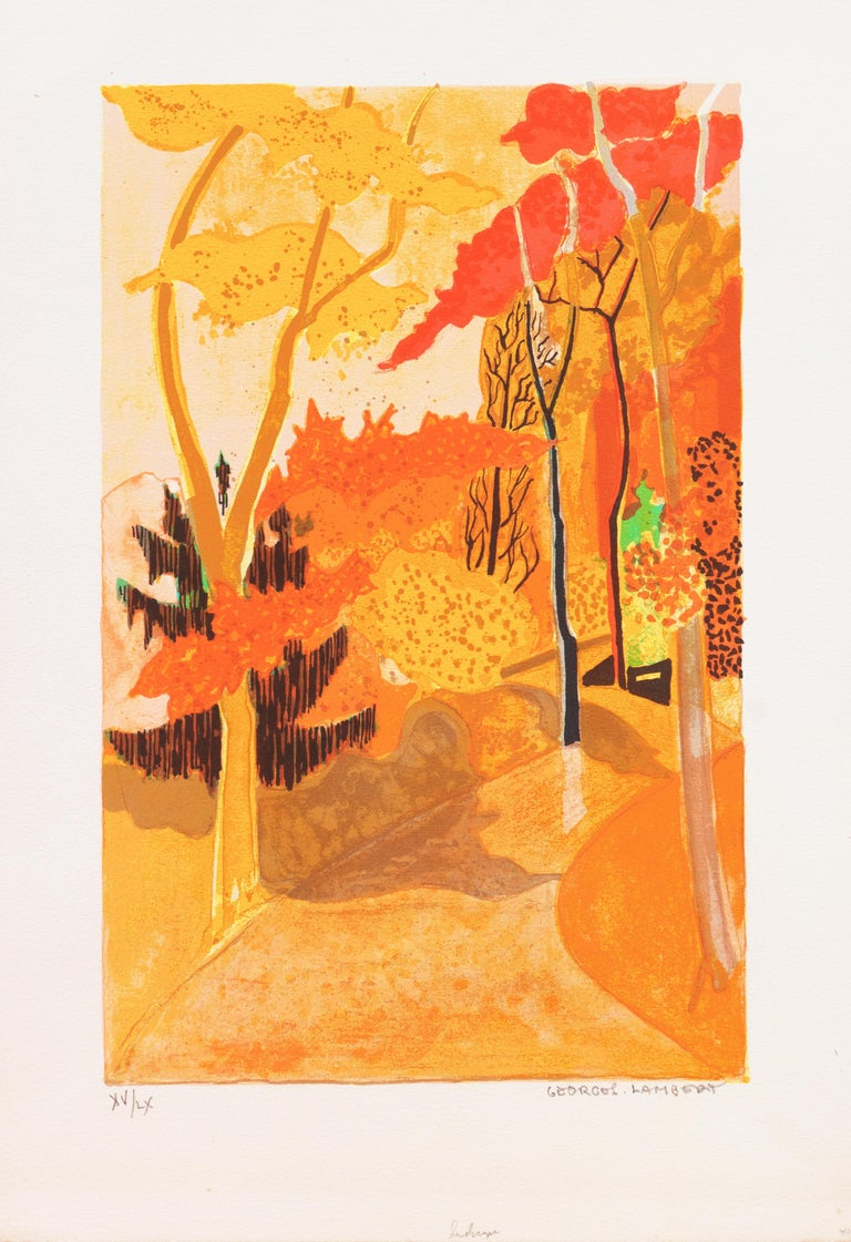 Provençal Landscape  (France, Post-Impressionism, Modernism, Rural, red, yellow) - Print by Georges Lambert