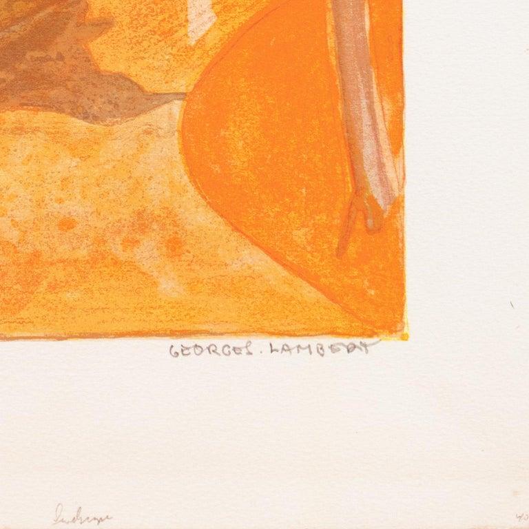 Provençal Landscape  (France, Post-Impressionism, Modernism, Rural, red, yellow) - Post-Impressionist Print by Georges Lambert