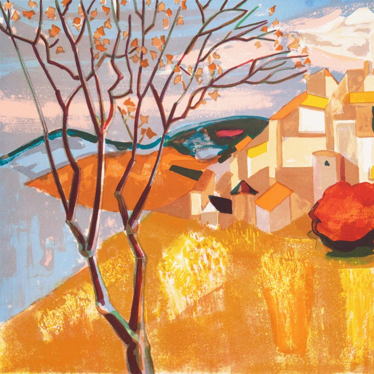 Provençal Landscape  (France, Post-Impressionism, Modernism, Rural, red, yellow) For Sale 1