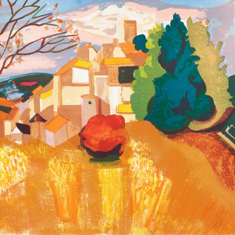 Provençal Landscape  (France, Post-Impressionism, Modernism, Rural, red, yellow) For Sale 2