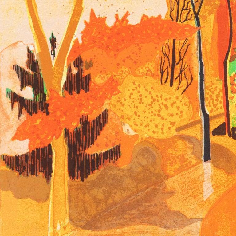 Provençal Landscape  (France, Post-Impressionism, Modernism, Rural, red, yellow) For Sale 2