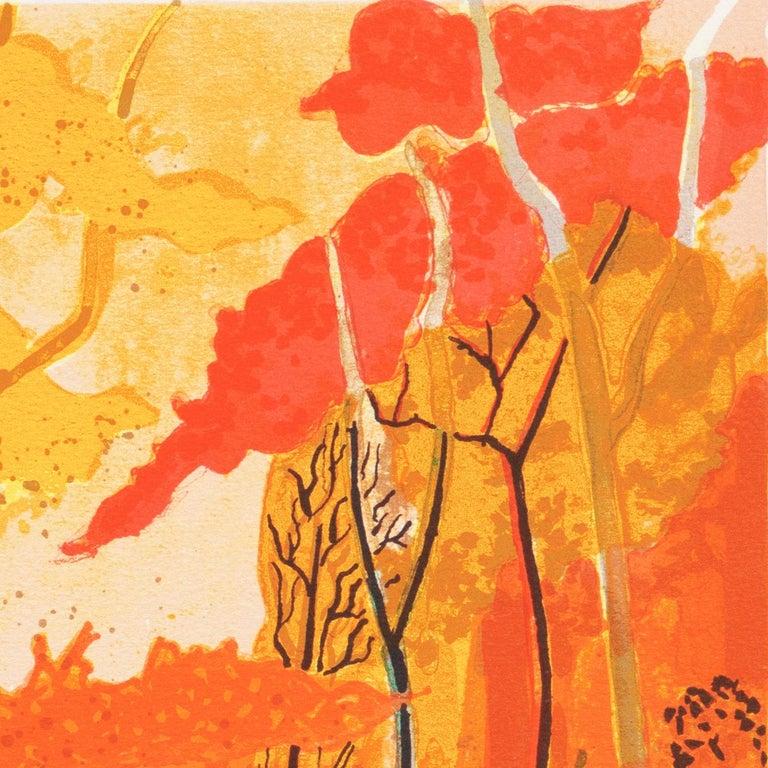 Provençal Landscape  (France, Post-Impressionism, Modernism, Rural, red, yellow) For Sale 3