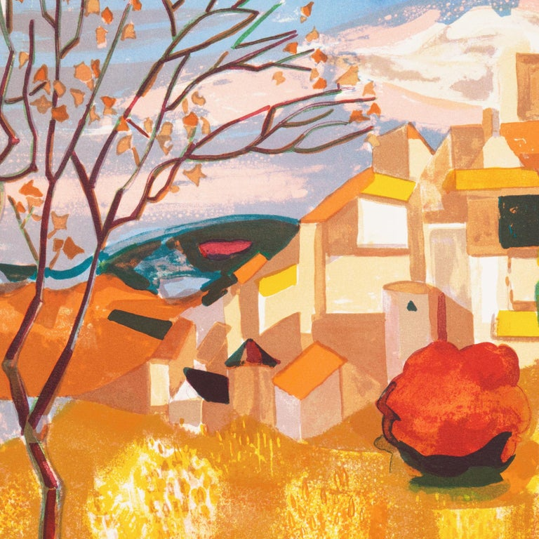 Provençal Landscape  (France, Post-Impressionism, Modernism, Rural, red, yellow) For Sale 4