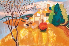 Provençal Landscape  (France, Post-Impressionism, Modernism, Rural, red, yellow)