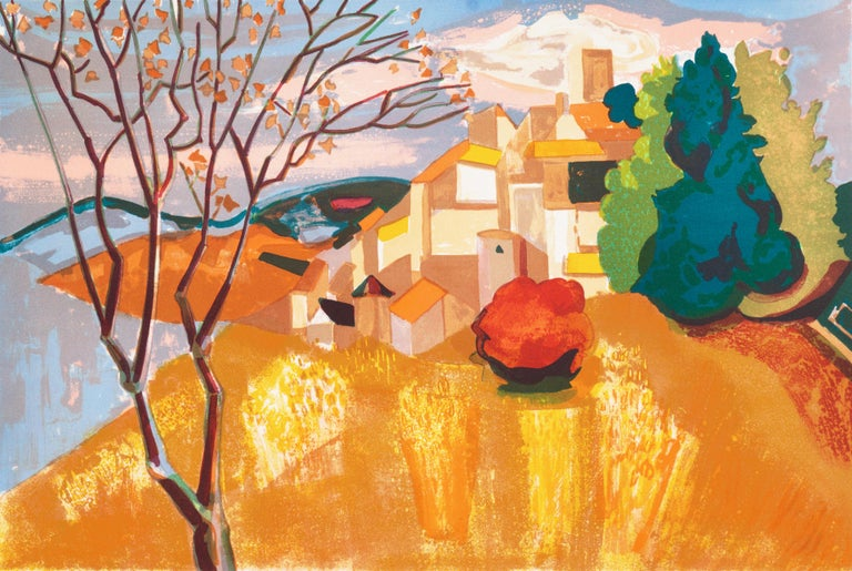 Georges Lambert Landscape Print - Provençal Landscape  (France, Post-Impressionism, Modernism, Rural, red, yellow)