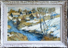 Cottages in the Snow-Russia 20th Century Oil, Winter River Landscape by Lapchine