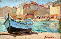 Martigues - 20th Century Oil, Boat by Canal Landscape by Georges Lapchine