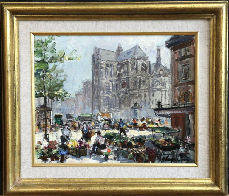 Place du Tertre - Impressionist Oil, Figures in Market in Cityscape - G Lapchine - Painting by Georges Lapchine
