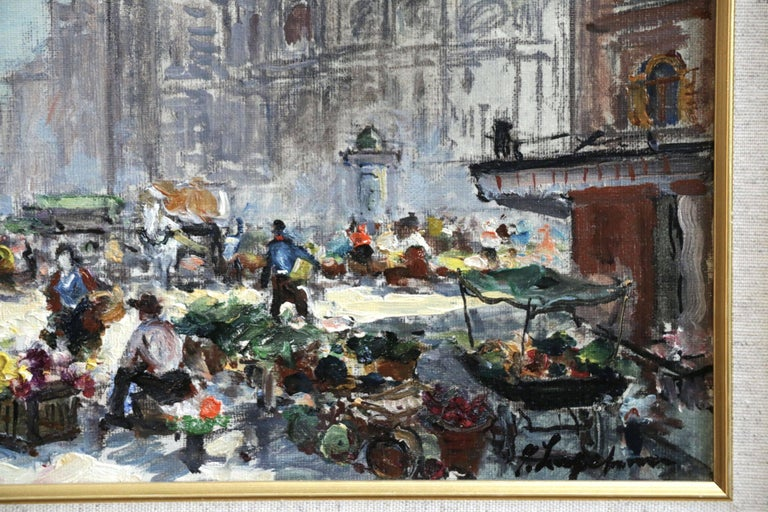 Place du Tertre - Impressionist Oil, Figures in Market in Cityscape - G Lapchine - Gray Landscape Painting by Georges Lapchine