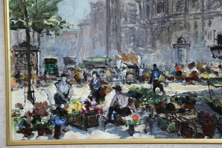 A wonderful oil on original canvas circa 1935 by sought after Russian impressionist painter Georges Lapchine depicting a bustling market at the Place du Tertre square in Paris.   Signature: Signed lower right.   Dimensions: Framed: 13
