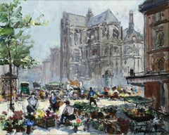 Place du Tertre - Impressionist Oil, Figures in Market in Cityscape - G Lapchine