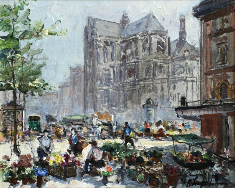 Georges Lapchine Landscape Painting - Place du Tertre - Impressionist Oil, Figures in Market in Cityscape - G Lapchine