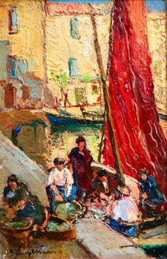 Unloading Boats - Martigues - 20th Century Oil, Landscape by Georges Lapchine