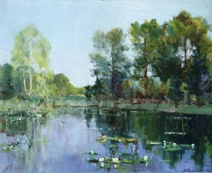 Water Lilies - Mid-20th Century Oil, Riverscape Landscape by Georges Lapchine