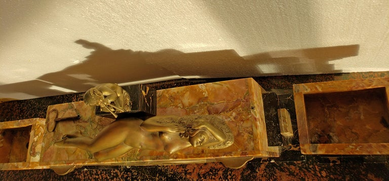 Art Deco Clock Bronze Sculpture Voluptuous Reclining Nude Fawn Pipes of Pan For Sale 8