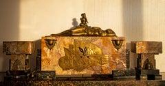 Art Deco Clock Bronze Sculpture Voluptuous Reclining Nude Fawn Pipes of Pan