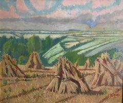 Haystacks, Landscape, French Impressionist Oil