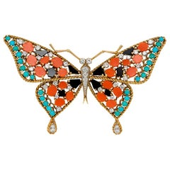 Georges L'Enfant 1960s Colorful Gold and Multi-Gemstone Butterfly Brooch