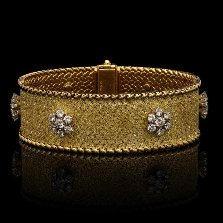 Round Cut Georges Lenfant Diamond Cluster 18 Carat Gold Bracelet, circa 1965 For Sale