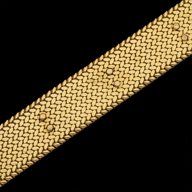 Women's or Men's Georges Lenfant Diamond Cluster 18 Carat Gold Bracelet, circa 1965 For Sale